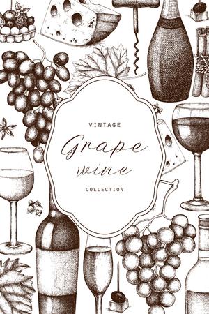 Vintage wine card. Illustration