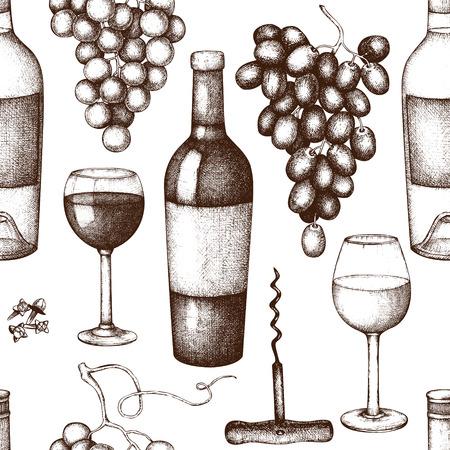 Vintage wine  glass, grapes, bottle. Hand drawn alcoholic drink design.
