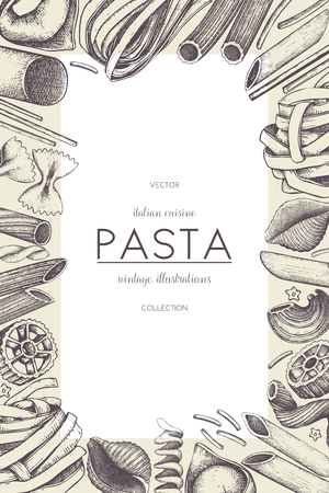 Vector menu template with traditional Italian pasta 일러스트