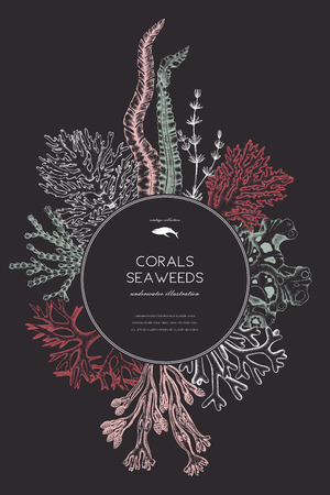 Vector card design with hand drawn sea corals, fish, stars sketch.