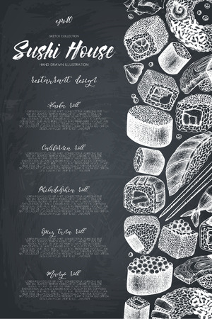 Sushi Vintage template with traditional asian food sketch. Seafood menu on chalkboard Illustration