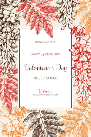 Valentine's Day card or invitation design with tree in flowers. Imagens - 122886641