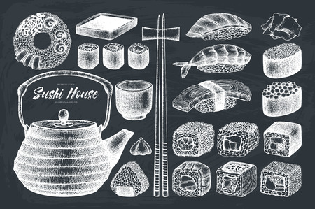 Vector collection of hand drawn sushi roll
