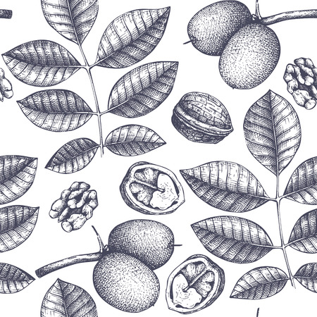 Seamless pattern with hand drawn trees sketch.