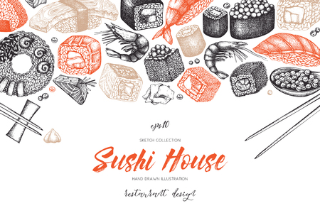 Sushi Vintage template with traditional asian food sketch.