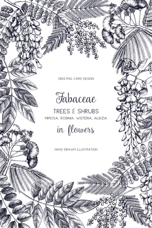 Vintage trees and flowers Valentines Day or Wedding design template. Illustration