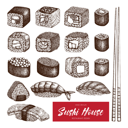 Vector collection of hand drawn sushi roll illustrations. Vintage set of asian food sketch on white background. Restaurant menu poster design