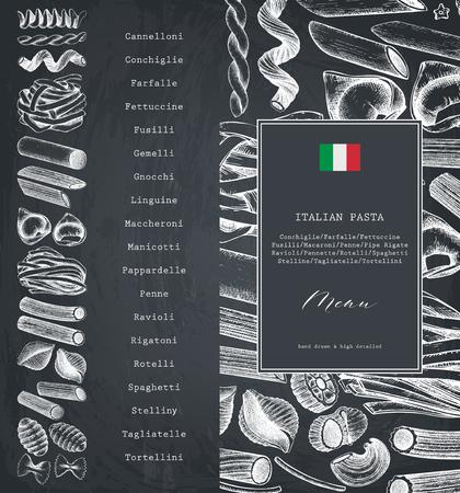 Modello di menu vettoriale con pasta italiana tradizionale. Schizzo di cibo disegnato a mano. Carta d'epoca o disegno dell'invito. Contorni alla lavagna