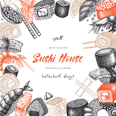 Vector design with hand drawn sushi roll