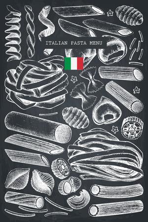 Modello di menu vettoriale con pasta italiana tradizionale.