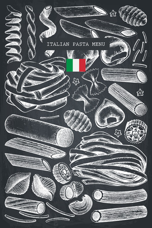 Vector menu template with traditional Italian pasta.