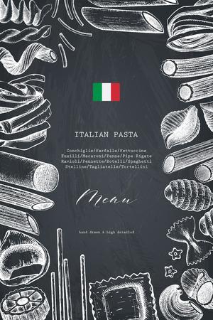 Modello di menu vettoriale con pasta italiana tradizionale. Vettoriali