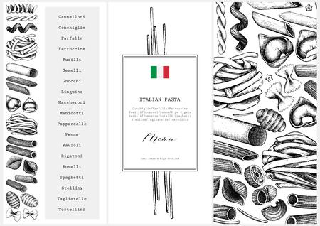 Modello di menu vettoriale con pasta italiana tradizionale