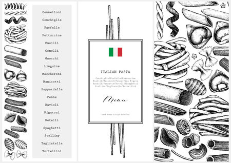 Vector menu template with traditional Italian pasta Иллюстрация