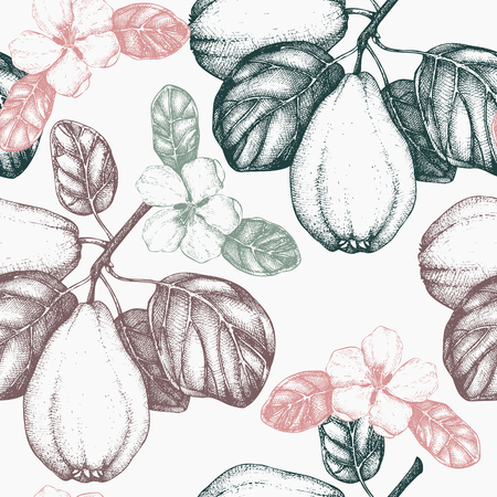 Vector seamless pattern with hand drawn quince tree.