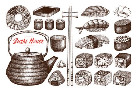 Set of ink hand drawn sushi