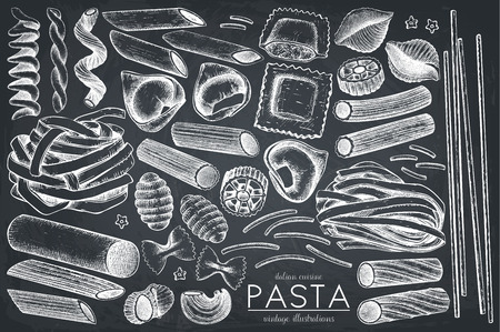 Vector collection of traditional pasta Vettoriali