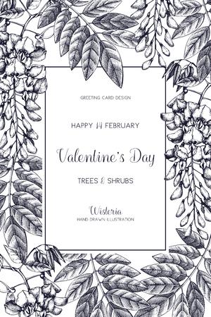 Wisteria sketch background. Valentines Day card or invitation design with tree in flowers. Vintage floral illustration. Wedding decor. Ilustração