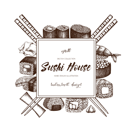 Vector menu design with hand drawn sushi