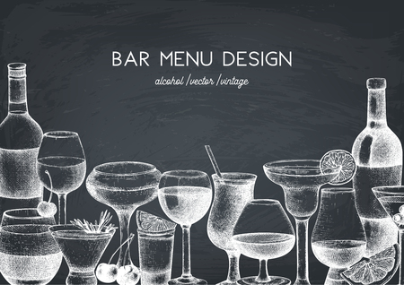 Vector design with hand drawn drinks Illusztráció