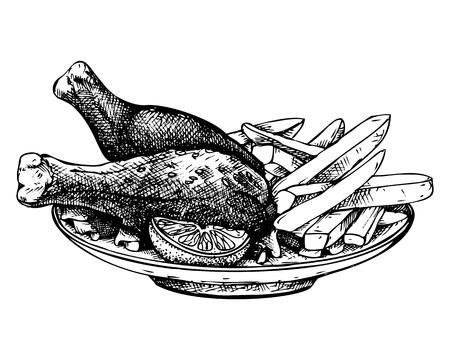 Schizzo di pollo e patatine fritte disegnate a mano.