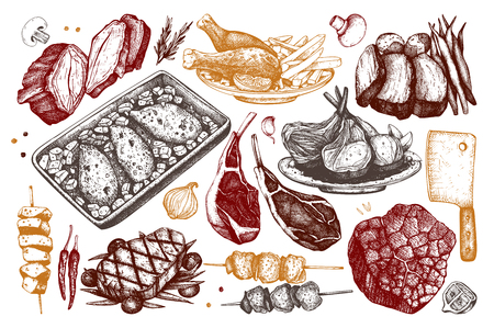 Collection of hand drawn food Vetores