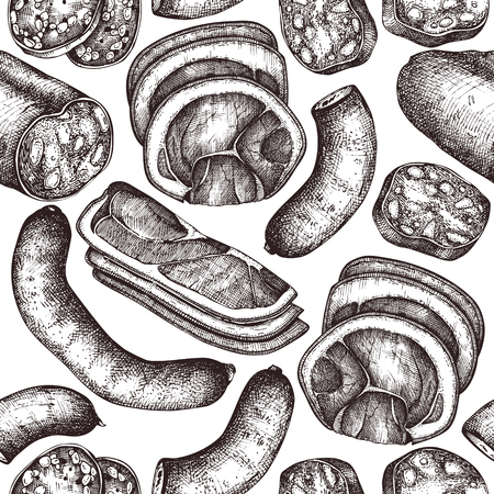 Vector collection of meat, seafood and fish products sketches. Vettoriali