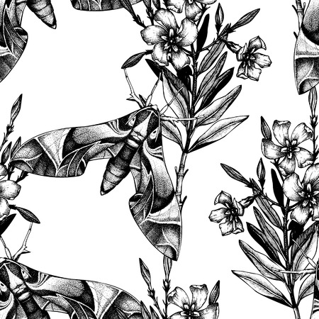 Oleander hawk moth seamless pattern.