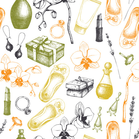 Seamless pattern with hand drawn SPA and Beauty