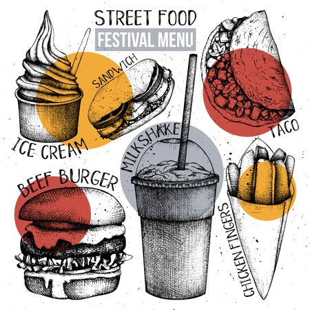 Street food festival menu. Vintage sketch collection.