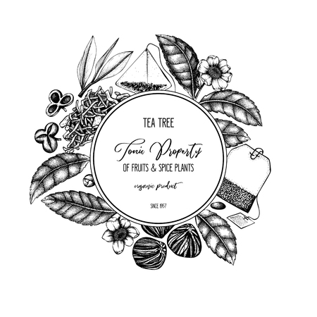 Vector design with hand drawn Chinese tea tree