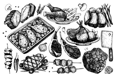 Vector collection of hand drawn food