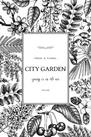Vector card design with hand drawn blossoming trees illustration. Spring flowers sketch collection.  Wedding invitation template. Floral background