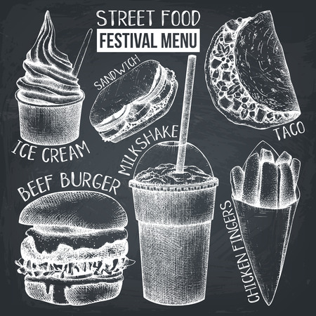 Street food festival menu. Vintage sketch collection. Fast food set on chalkboard. Vector ice cream, burger, milkshake, chicken fingers, sandwich, tacos drawings.