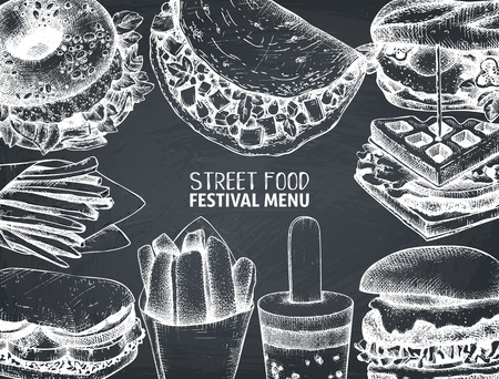 Street food festival menu on chalkboard. Vintage sketch collection. Fast food engraved style design. Vector drawing for logo, icon, label, packaging, poster.