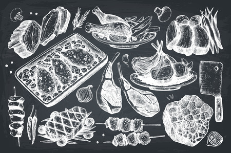 Vector collection of hand drawn food illustration.Top view design. Restaurant menu. Meat products set. Vintage template.