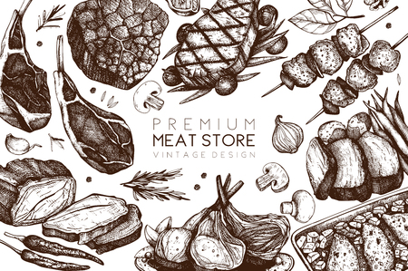 Vector design with hand drawn food illustration.Top view design. Restaurant menu. Meat products collection. Vintage template.