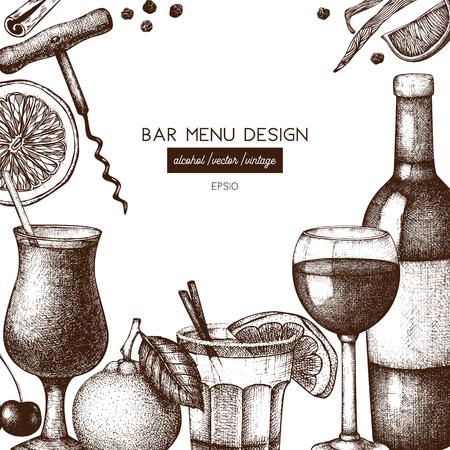 Vector design with hand drawn drinks illustration. Vintage beverages sketch background. Retro menu template for cafe or restaurant Illustration