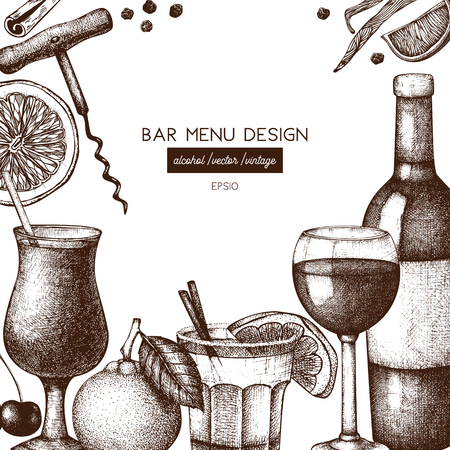Vector design with hand drawn drinks illustration. Vintage beverages sketch background. Retro menu template for cafe or restaurant Vectores