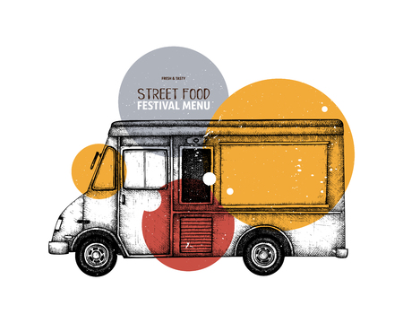 Vintage food truck sketch. Vector template for logo, icon, label, packaging, poster. Fast food festival menu design. Banque d'images - 122079647