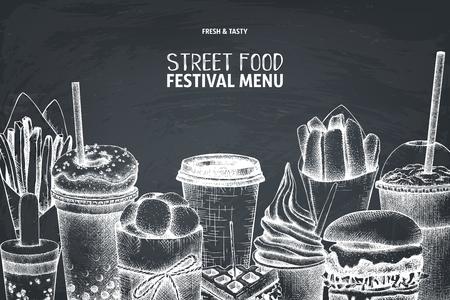 Street food festival menu on chalkboard. Vintage sketch collection. Fast food engraved style design. Vector drawing for logo, icon, label, packaging, poster. Illustration