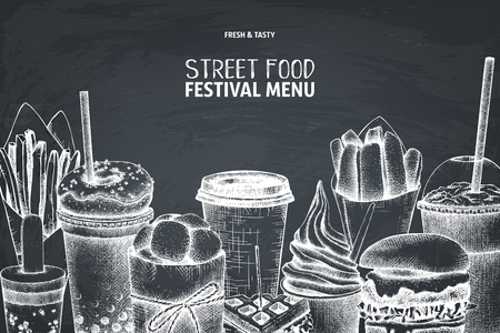 Street food festival menu on chalkboard. Vintage sketch collection. Fast food engraved style design. Vector drawing for logo, icon, label, packaging, poster. Vettoriali