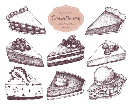 Fruit and berry baking illustration. Vintage design with traditional cake, tart and pie sketch. Sweet bakery menu
