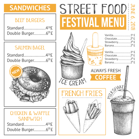 Fast food restaurant or cafe menu template. Hand drawn burgers, desserts and drinks illustrations. Food truck flyer design on white background 스톡 콘텐츠 - 122079884