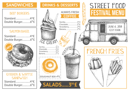 Het menuontwerp van de voedselvrachtwagen op witte backgorund. Fastfood Restaurant-flyer. Vector café sjabloon met handgetekende afbeelding - hamburgers, drankjes, desserts.