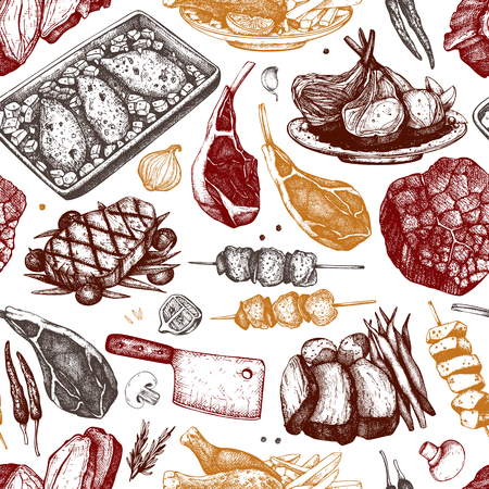 Vector backgorund with hand drawn food illustrations. Restaurant menu design. Meat products collection. Vintage seamless pattern. Vetores