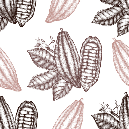 Vector Cocoa tree illustration. Vintage background with leaves, flowres, fruits and beans. Botanical seamless pattern. Aromatical and tonic elements sketch.