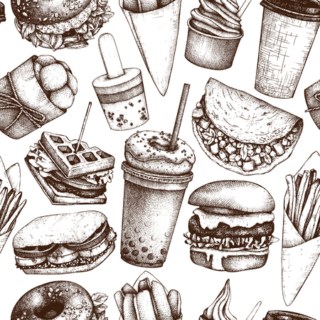 Street food festival seamless pattern. Vintage sketch collection. Fast food set. Engraved style design. Vector drink drawing for logo, icon, label, packaging, poster. Imagens - 122080037