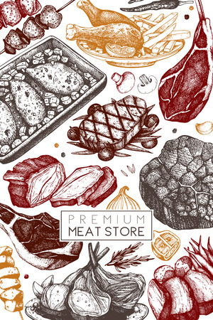 Vector frame with hand drawn food illustration.Top view design. Restaurant menu. Meat products collection. Vintage template.