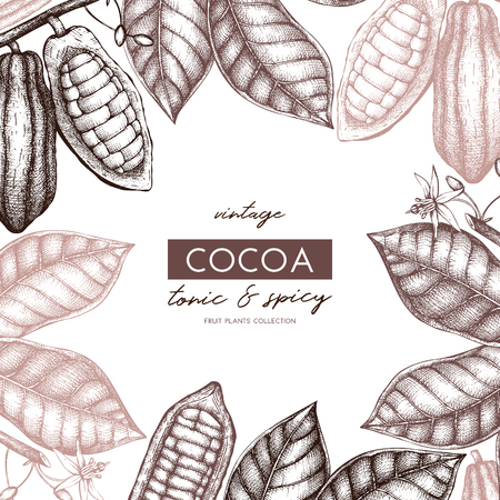 Vector Cocoa tree illustration. Vintage background with flowers, fruits and beans. Botanical pattern. Aromatic and tonic elements sketch. Vettoriali